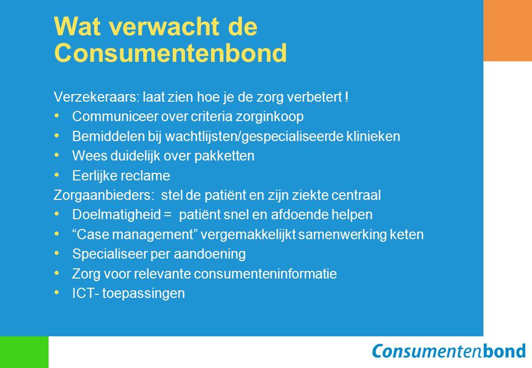 Wat verwacht de Consumentenbond Verzekeraars: laat zien hoe je de zorg verbetert ! Communiceer over criteria zorginkoop Bemiddelen bij wachtlijsten/ge