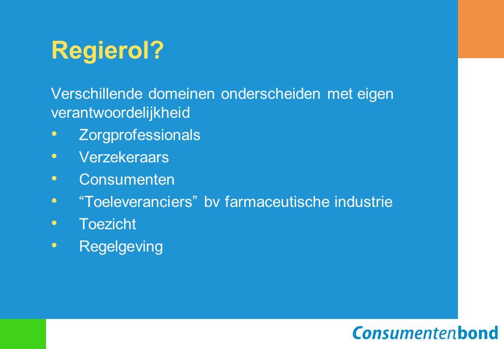 """Regierol? Verschillende domeinen onderscheiden met eigen verantwoordelijkheid Zorgprofessionals Verzekeraars Consumenten """"Toeleveranciers"""" bv farmaceu"""