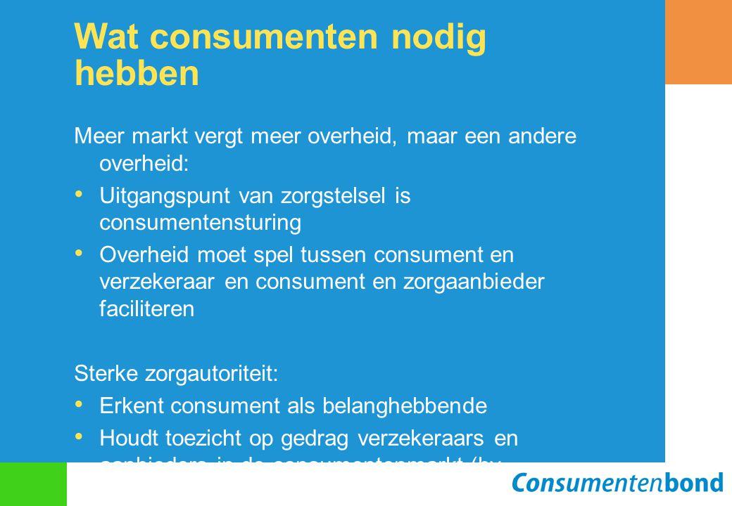 Wat consumenten nodig hebben Meer markt vergt meer overheid, maar een andere overheid: Uitgangspunt van zorgstelsel is consumentensturing Overheid moe