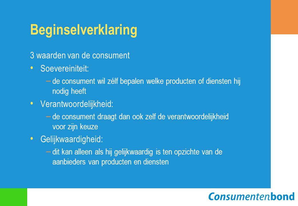 Beginselverklaring 3 waarden van de consument Soevereiniteit: – de consument wil zélf bepalen welke producten of diensten hij nodig heeft Verantwoordelijkheid: – de consument draagt dan ook zelf de verantwoordelijkheid voor zijn keuze Gelijkwaardigheid: – dit kan alleen als hij gelijkwaardig is ten opzichte van de aanbieders van producten en diensten