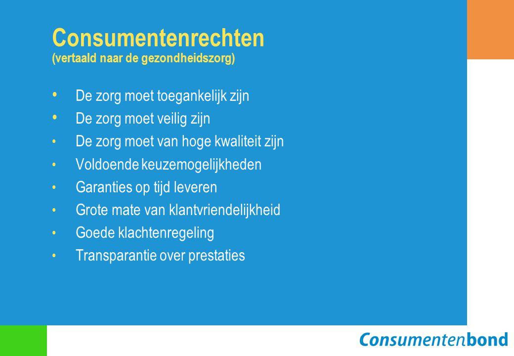 Consumentenrechten (vertaald naar de gezondheidszorg) De zorg moet toegankelijk zijn De zorg moet veilig zijn De zorg moet van hoge kwaliteit zijn Vol