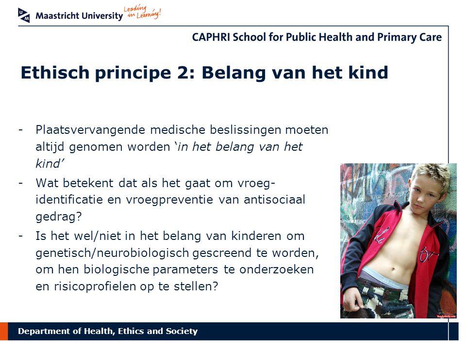Department of Health, Ethics and Society Ethisch principe 2: Belang van het kind