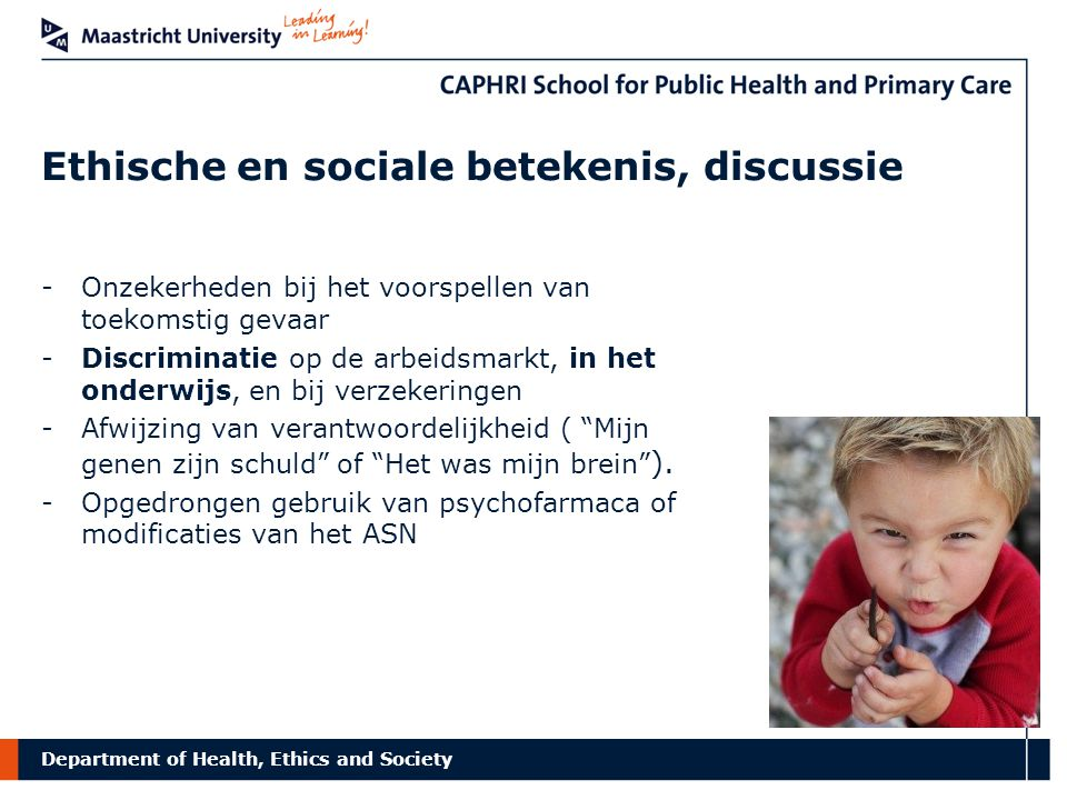 Department of Health, Ethics and Society Bio-exceptionalisme.