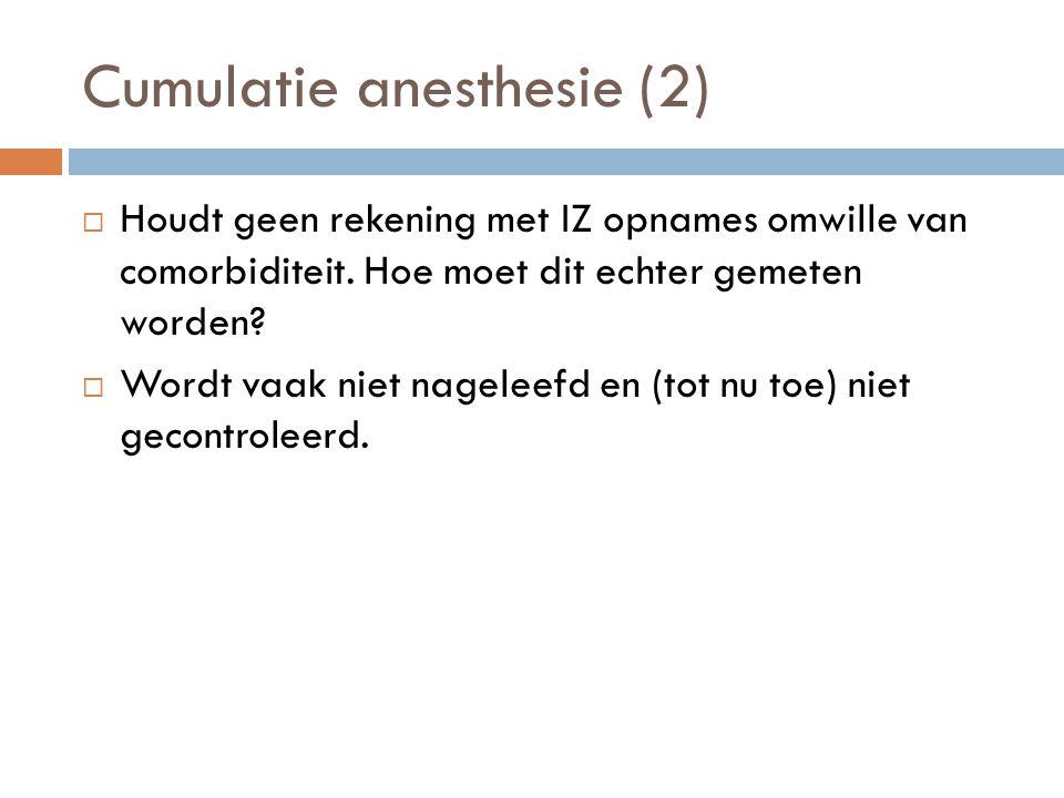 Cumulatie anesthesie (2)  Houdt geen rekening met IZ opnames omwille van comorbiditeit. Hoe moet dit echter gemeten worden?  Wordt vaak niet nagelee