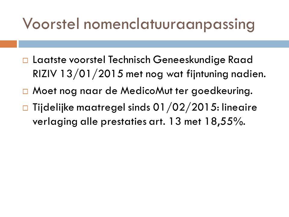 Voorstel nomenclatuuraanpassing  Laatste voorstel Technisch Geneeskundige Raad RIZIV 13/01/2015 met nog wat fijntuning nadien.  Moet nog naar de Med