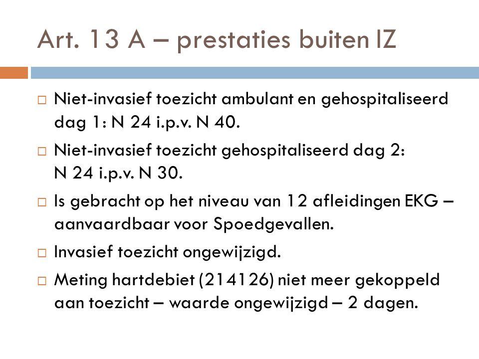 Art. 13 A – prestaties buiten IZ  Niet-invasief toezicht ambulant en gehospitaliseerd dag 1: N 24 i.p.v. N 40.  Niet-invasief toezicht gehospitalise
