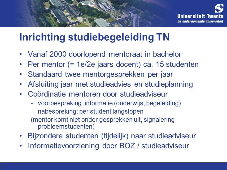 Inrichting studiebegeleiding TN Vanaf 2000 doorlopend mentoraat in bachelor Per mentor (= 1e/2e jaars docent) ca.