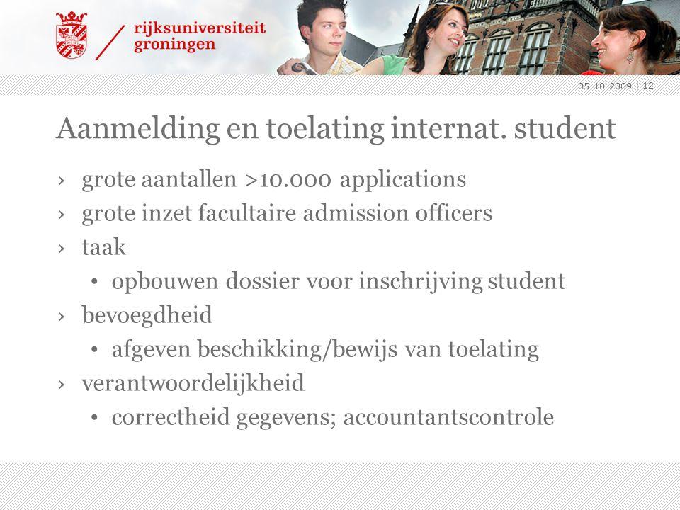 Aanmelding en toelating internat. student ›grote aantallen >10.000 applications ›grote inzet facultaire admission officers ›taak opbouwen dossier voor