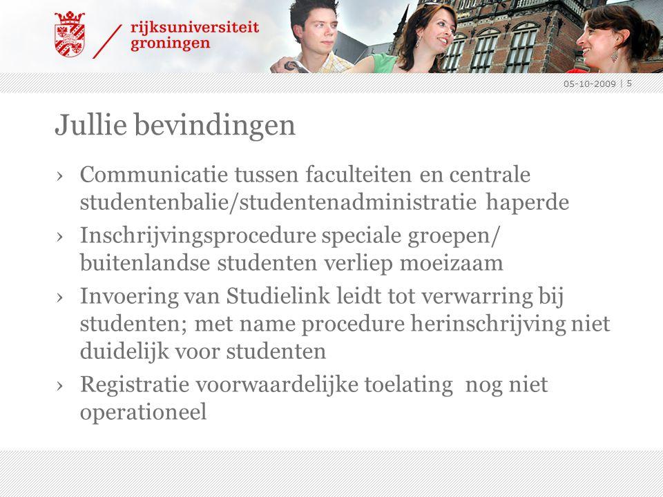 Jullie bevindingen ›Communicatie tussen faculteiten en centrale studentenbalie/studentenadministratie haperde ›Inschrijvingsprocedure speciale groepen