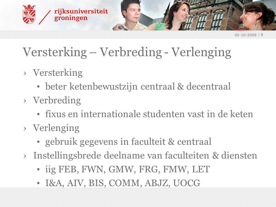 Versterking – Verbreding - Verlenging ›Versterking beter ketenbewustzijn centraal & decentraal ›Verbreding fixus en internationale studenten vast in d