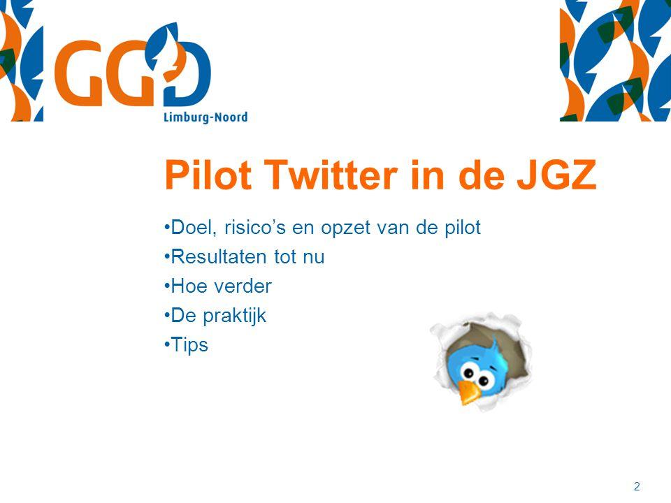 Pilot Twitter in de JGZ Doel, risico's en opzet van de pilot Resultaten tot nu Hoe verder De praktijk Tips 2