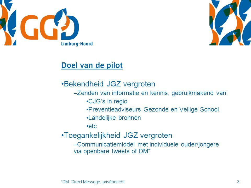 Doel van de pilot Bekendheid JGZ vergroten –Zenden van informatie en kennis, gebruikmakend van: CJG's in regio Preventieadviseurs Gezonde en Veilige S