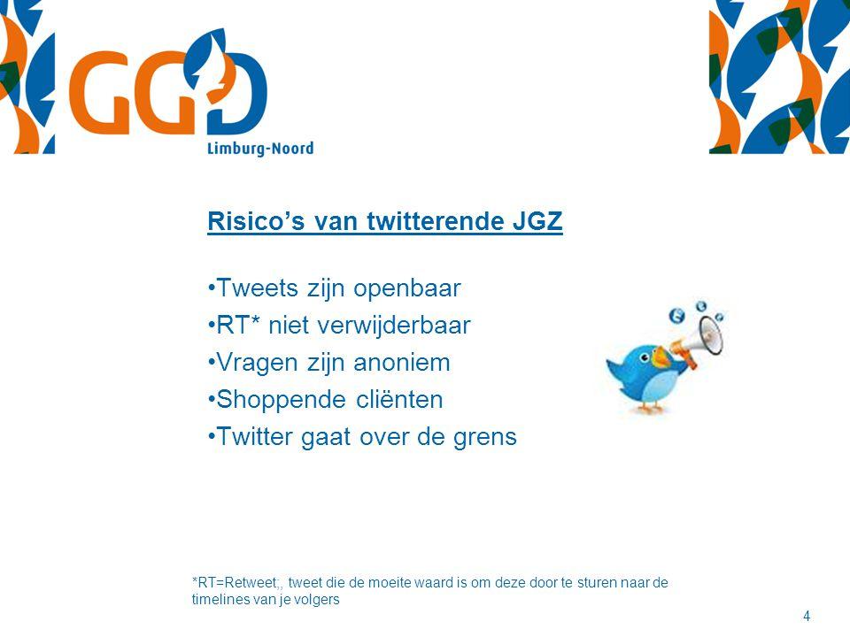 Risico's van twitterende JGZ Tweets zijn openbaar RT* niet verwijderbaar Vragen zijn anoniem Shoppende cliënten Twitter gaat over de grens *RT=Retweet