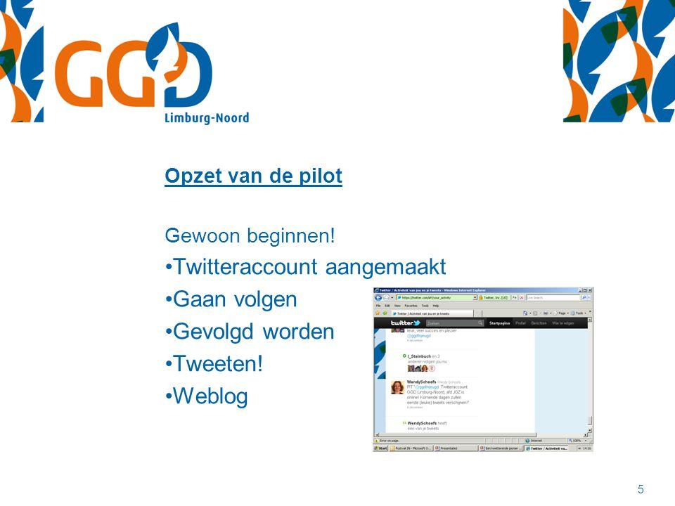 Opzet van de pilot Gewoon beginnen! Twitteraccount aangemaakt Gaan volgen Gevolgd worden Tweeten! Weblog 5