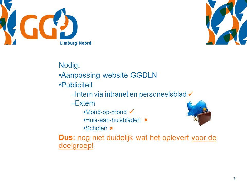 7 Nodig: Aanpassing website GGDLN Publiciteit –Intern via intranet en personeelsblad –Extern Mond-op-mond Huis-aan-huisbladen  Scholen  Dus: nog nie