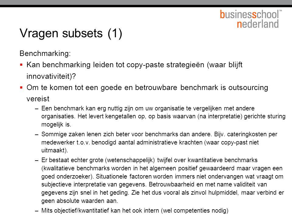 Vragen subsets (1) Benchmarking:  Kan benchmarking leiden tot copy-paste strategieën (waar blijft innovativiteit).