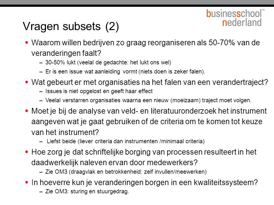 Vragen subsets (2)  Waarom willen bedrijven zo graag reorganiseren als 50-70% van de veranderingen faalt.