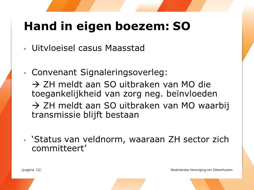 Hand in eigen boezem: SO Uitvloeisel casus Maasstad Convenant Signaleringsoverleg:  ZH meldt aan SO uitbraken van MO die toegankelijkheid van zorg ne