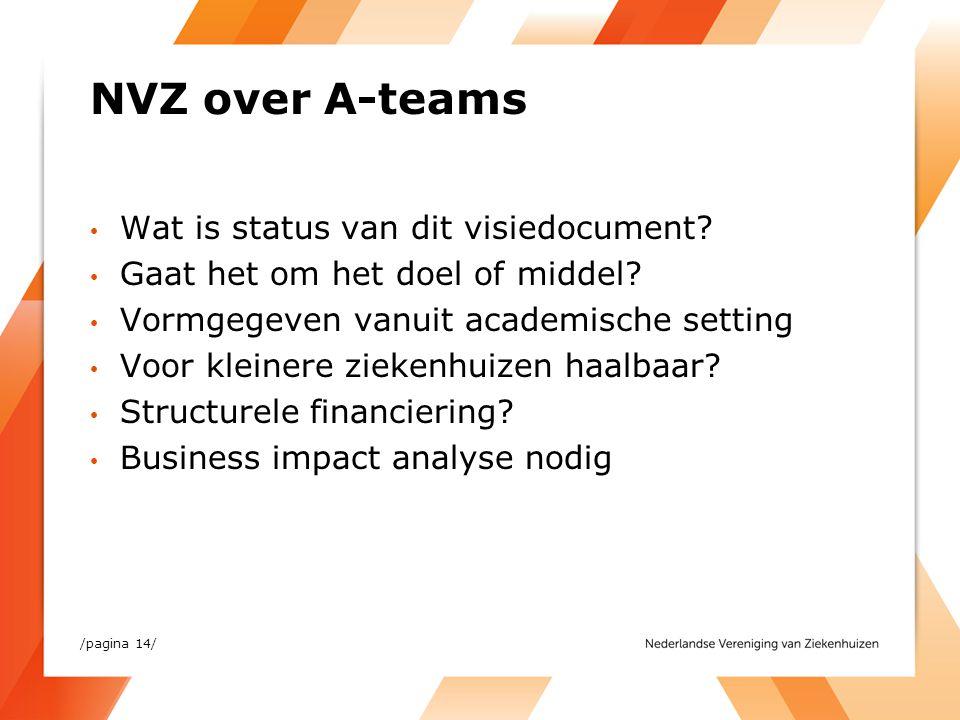 NVZ over A-teams Wat is status van dit visiedocument? Gaat het om het doel of middel? Vormgegeven vanuit academische setting Voor kleinere ziekenhuize