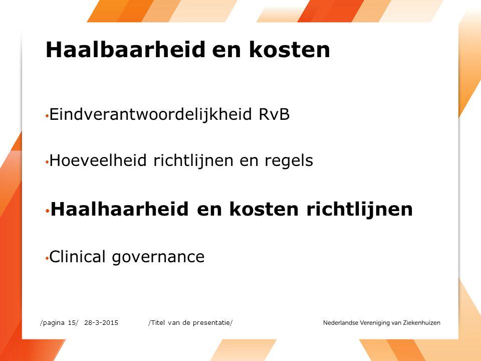Haalbaarheid en kosten Eindverantwoordelijkheid RvB Hoeveelheid richtlijnen en regels Haalhaarheid en kosten richtlijnen Clinical governance 28-3-2015