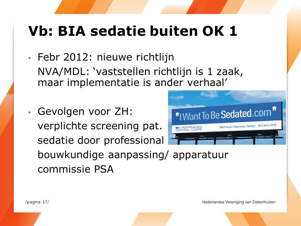 Vb: BIA sedatie buiten OK 1 Febr 2012: nieuwe richtlijn NVA/MDL: 'vaststellen richtlijn is 1 zaak, maar implementatie is ander verhaal' Gevolgen voor