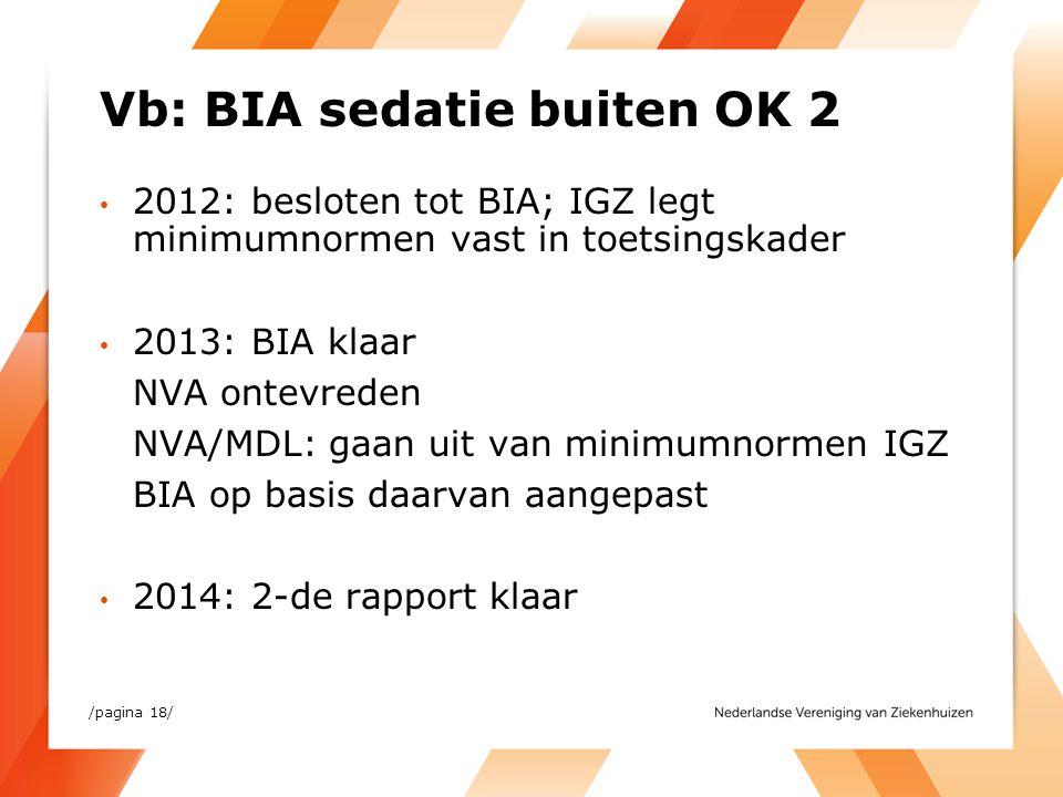 Vb: BIA sedatie buiten OK 2 2012: besloten tot BIA; IGZ legt minimumnormen vast in toetsingskader 2013: BIA klaar NVA ontevreden NVA/MDL: gaan uit van
