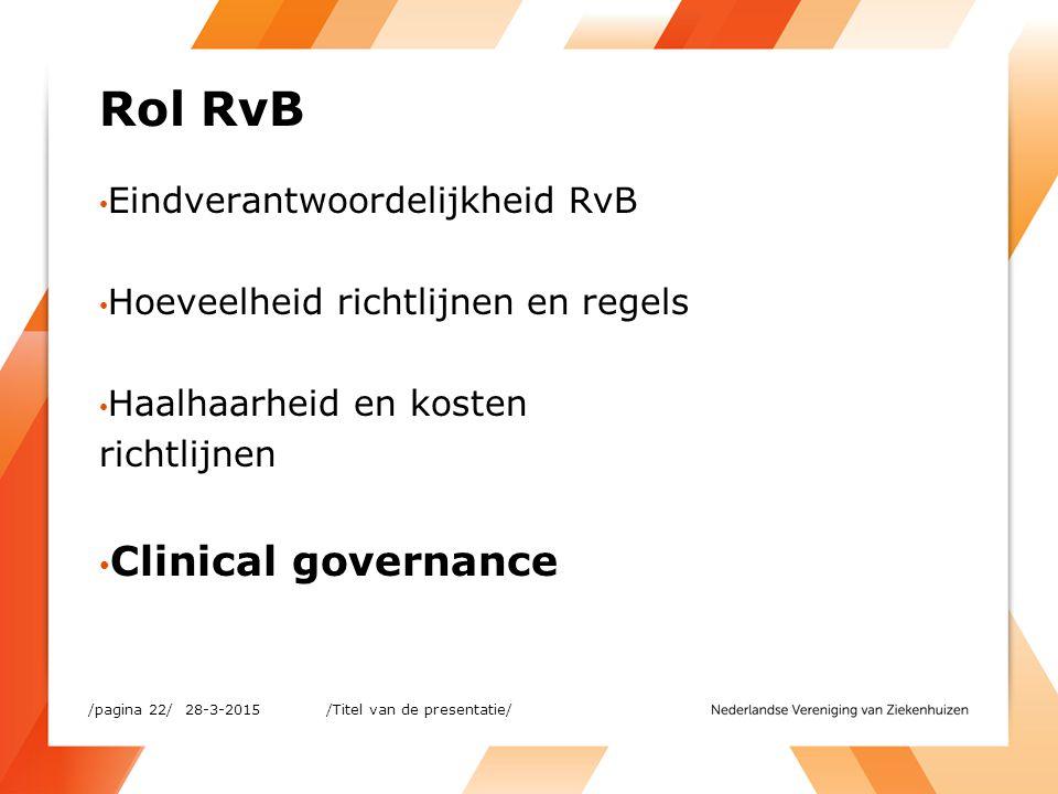 Rol RvB Eindverantwoordelijkheid RvB Hoeveelheid richtlijnen en regels Haalhaarheid en kosten richtlijnen Clinical governance 28-3-2015/pagina 22/ /Ti