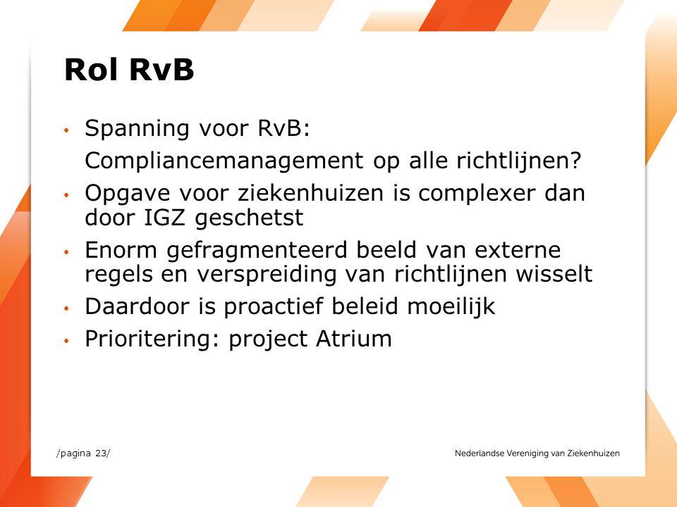 Rol RvB Spanning voor RvB: Compliancemanagement op alle richtlijnen? Opgave voor ziekenhuizen is complexer dan door IGZ geschetst Enorm gefragmenteerd
