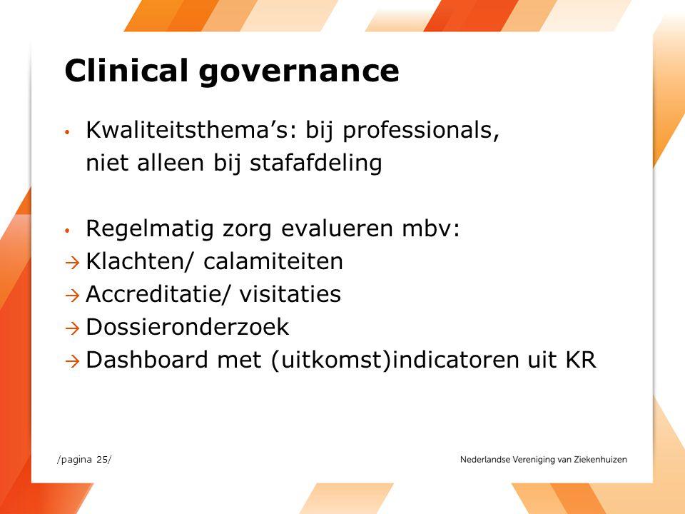 Clinical governance Kwaliteitsthema's: bij professionals, niet alleen bij stafafdeling Regelmatig zorg evalueren mbv:  Klachten/ calamiteiten  Accre