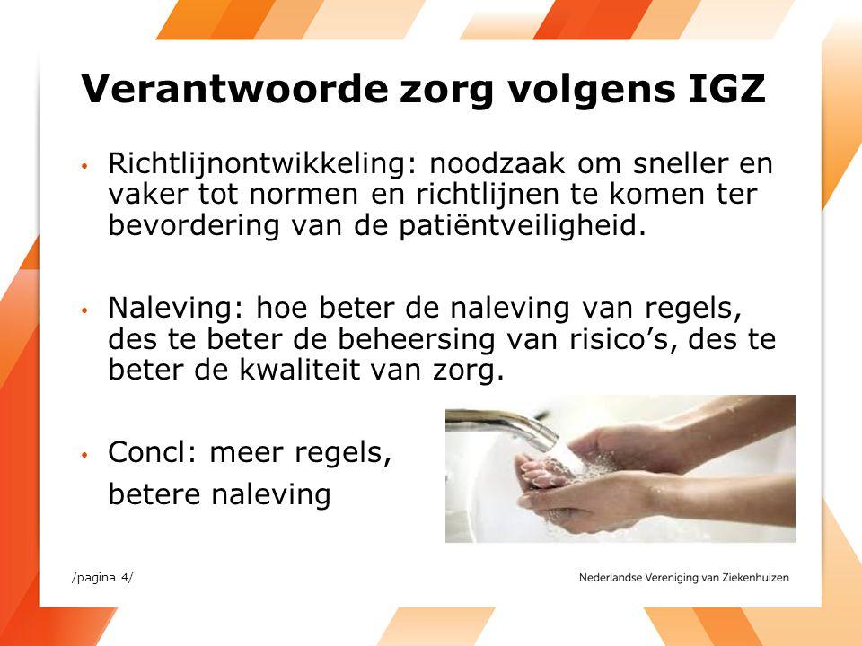 /pagina 4/ Verantwoorde zorg volgens IGZ Richtlijnontwikkeling: noodzaak om sneller en vaker tot normen en richtlijnen te komen ter bevordering van de