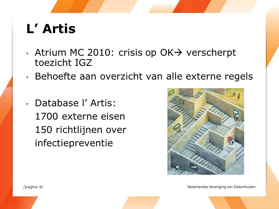 L' Artis Atrium MC 2010: crisis op OK  verscherpt toezicht IGZ Behoefte aan overzicht van alle externe regels Database l' Artis: 1700 externe eisen 1