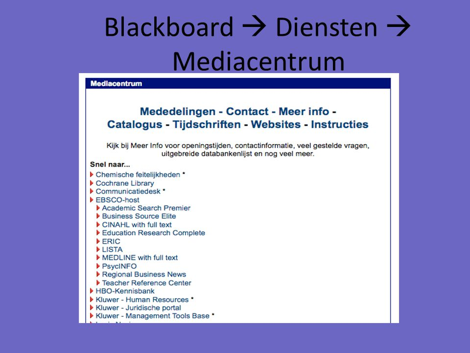 Blackboard  Diensten  Mediacentrum
