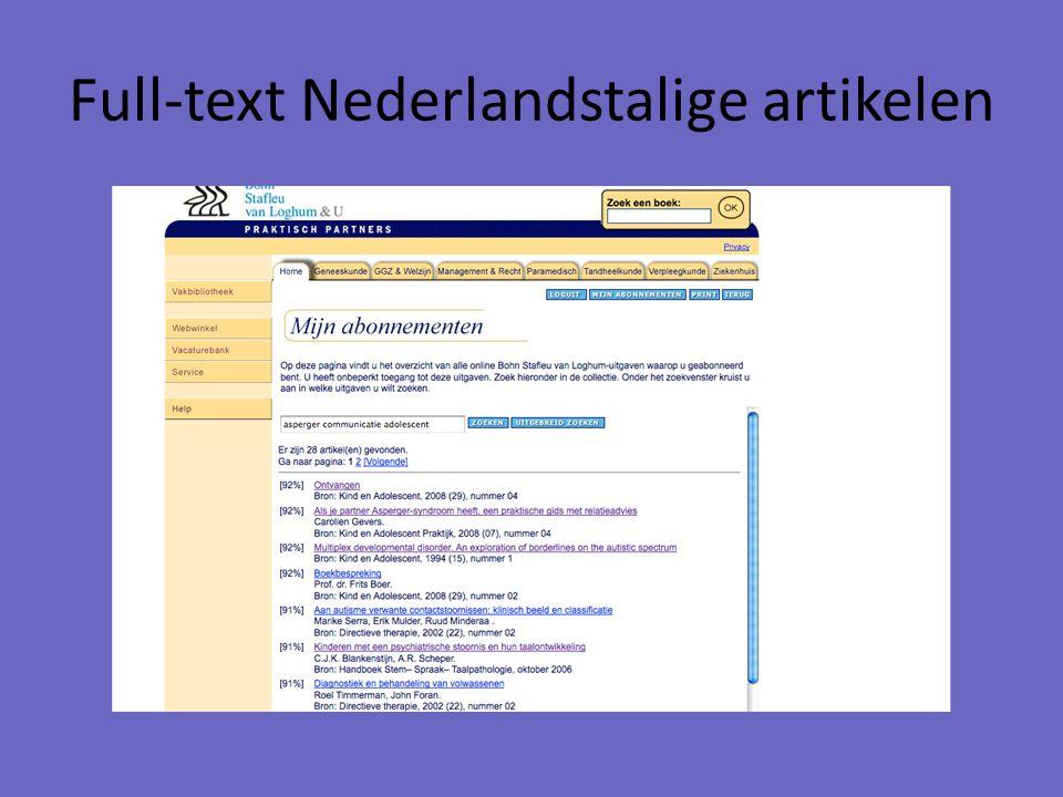 Full-text Nederlandstalige artikelen
