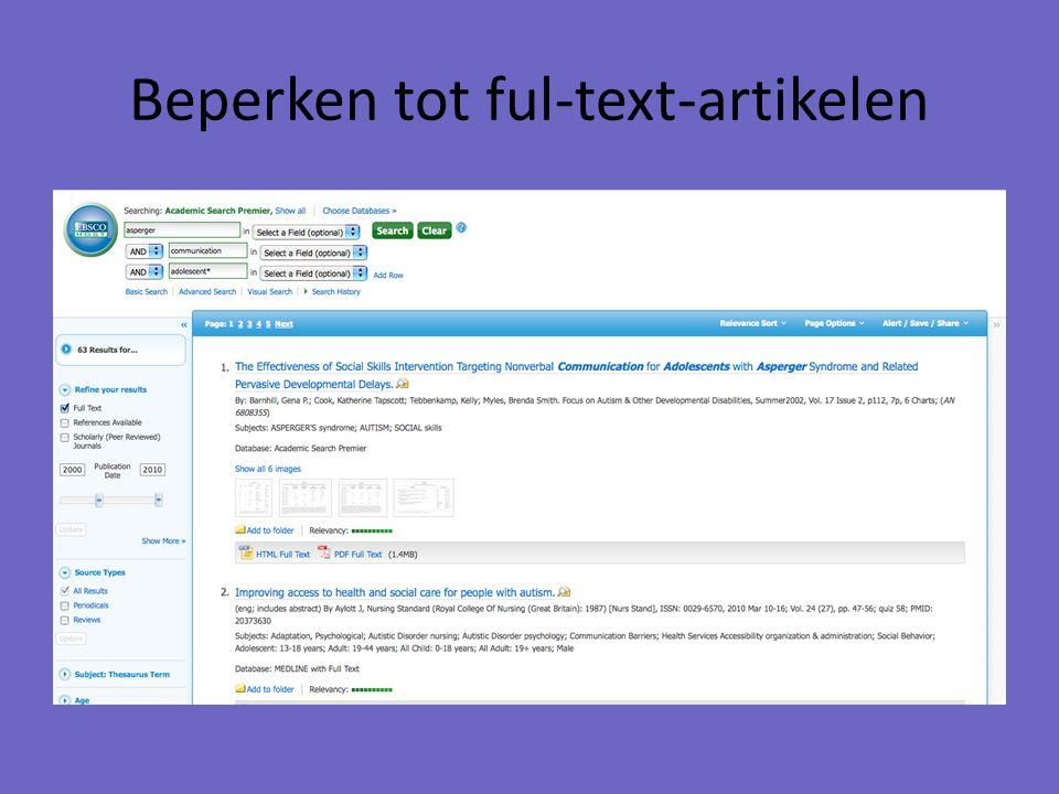 Beperken tot ful-text-artikelen