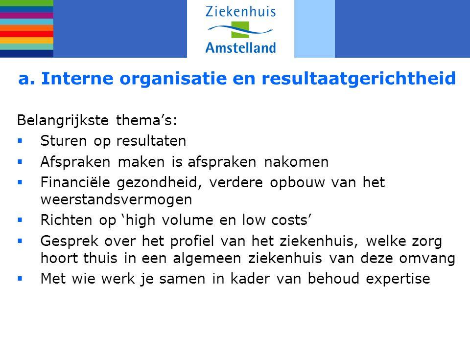 a. Interne organisatie en resultaatgerichtheid Belangrijkste thema's:  Sturen op resultaten  Afspraken maken is afspraken nakomen  Financiële gezon