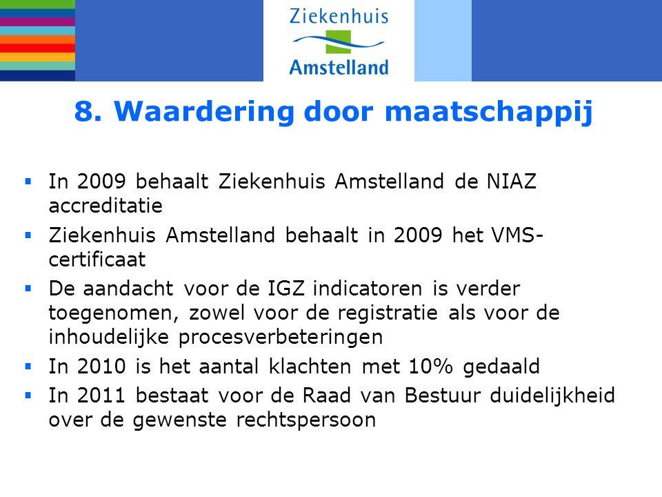 8. Waardering door maatschappij  In 2009 behaalt Ziekenhuis Amstelland de NIAZ accreditatie  Ziekenhuis Amstelland behaalt in 2009 het VMS- certific