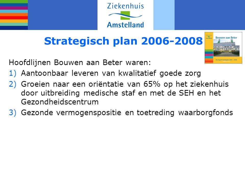 Strategisch plan 2006-2008 Hoofdlijnen Bouwen aan Beter waren: 1)Aantoonbaar leveren van kwalitatief goede zorg 2)Groeien naar een oriëntatie van 65% op het ziekenhuis door uitbreiding medische staf en met de SEH en het Gezondheidscentrum 3)Gezonde vermogenspositie en toetreding waarborgfonds