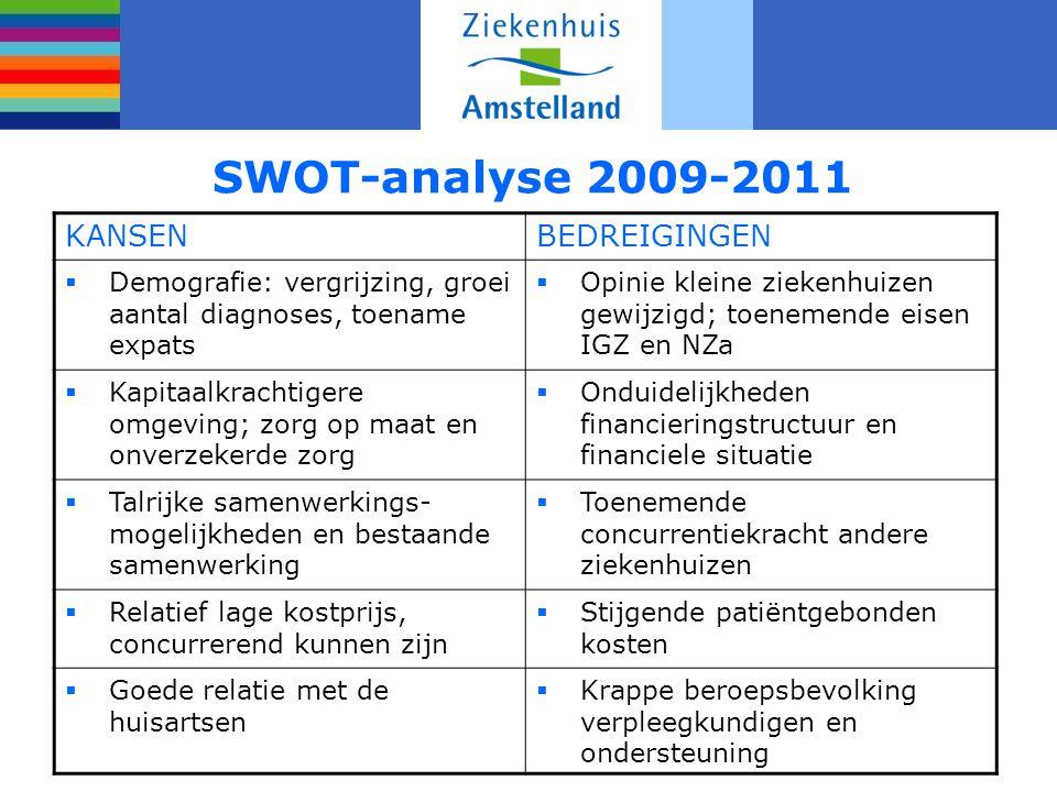 SWOT-analyse 2009-2011 KANSENBEDREIGINGEN  Demografie: vergrijzing, groei aantal diagnoses, toename expats  Opinie kleine ziekenhuizen gewijzigd; to