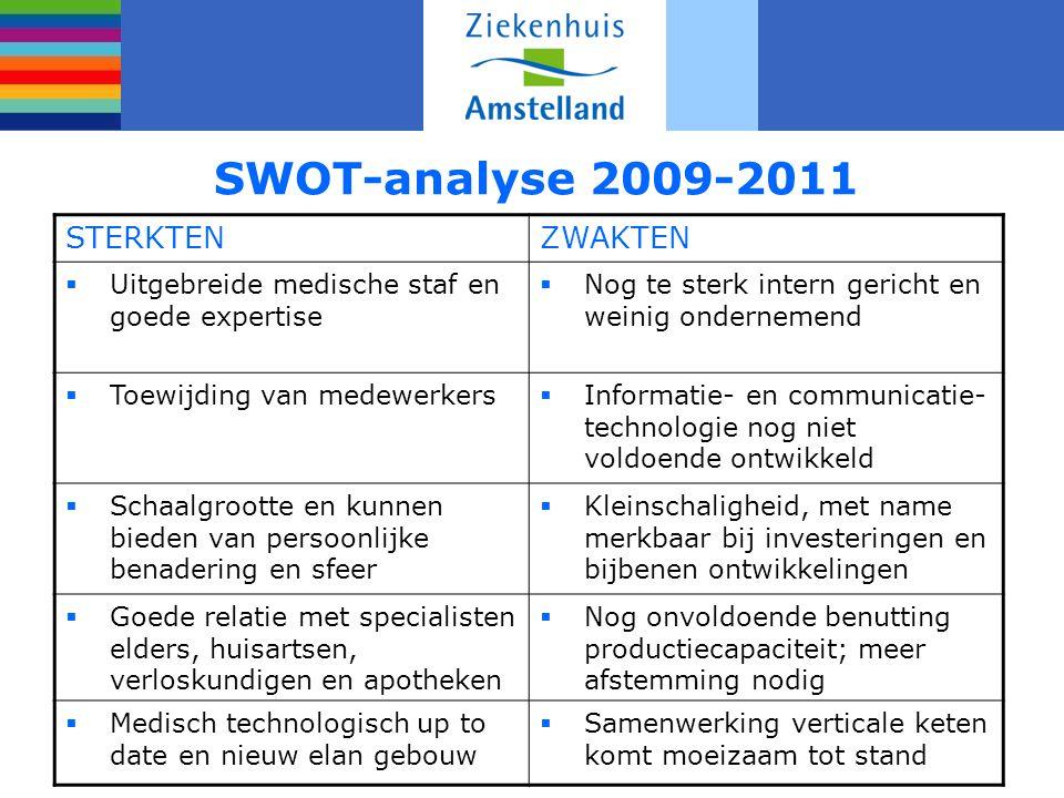 SWOT-analyse 2009-2011 STERKTENZWAKTEN  Uitgebreide medische staf en goede expertise  Nog te sterk intern gericht en weinig ondernemend  Toewijding