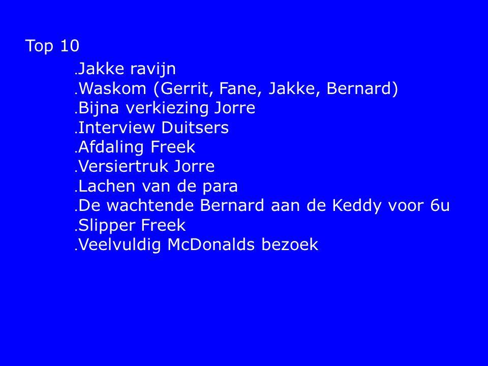 Top 10. Jakke ravijn. Waskom (Gerrit, Fane, Jakke, Bernard).