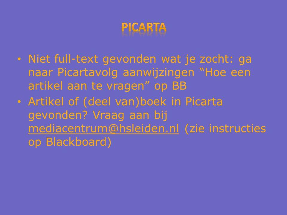 Niet full-text gevonden wat je zocht: ga naar Picartavolg aanwijzingen Hoe een artikel aan te vragen op BB Artikel of (deel van)boek in Picarta gevonden.