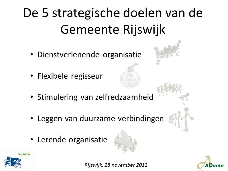 De 5 strategische doelen van de Gemeente Rijswijk Dienstverlenende organisatie Flexibele regisseur Stimulering van zelfredzaamheid Leggen van duurzame