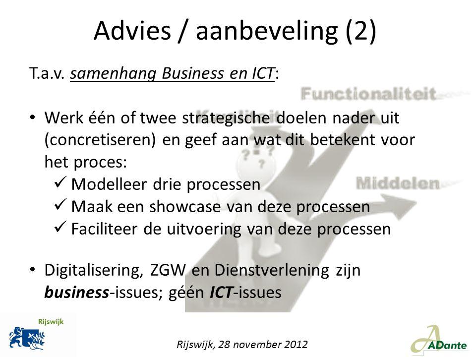 T.a.v. samenhang Business en ICT: Werk één of twee strategische doelen nader uit (concretiseren) en geef aan wat dit betekent voor het proces: Modelle