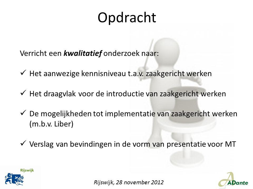 Gaat zaakgericht werken 'werken' 14% zegt volmondig 'ja' 50% zegt ja, maar het zal moeizaam gaan 2% zegt het moet gaan werken 20% heeft zijn twijfels 14% zegt 'nee' en gelooft er niet in Rijswijk, 28 november 2012