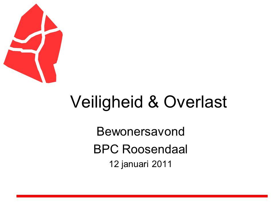 Veiligheid & Overlast Bewonersavond BPC Roosendaal 12 januari 2011