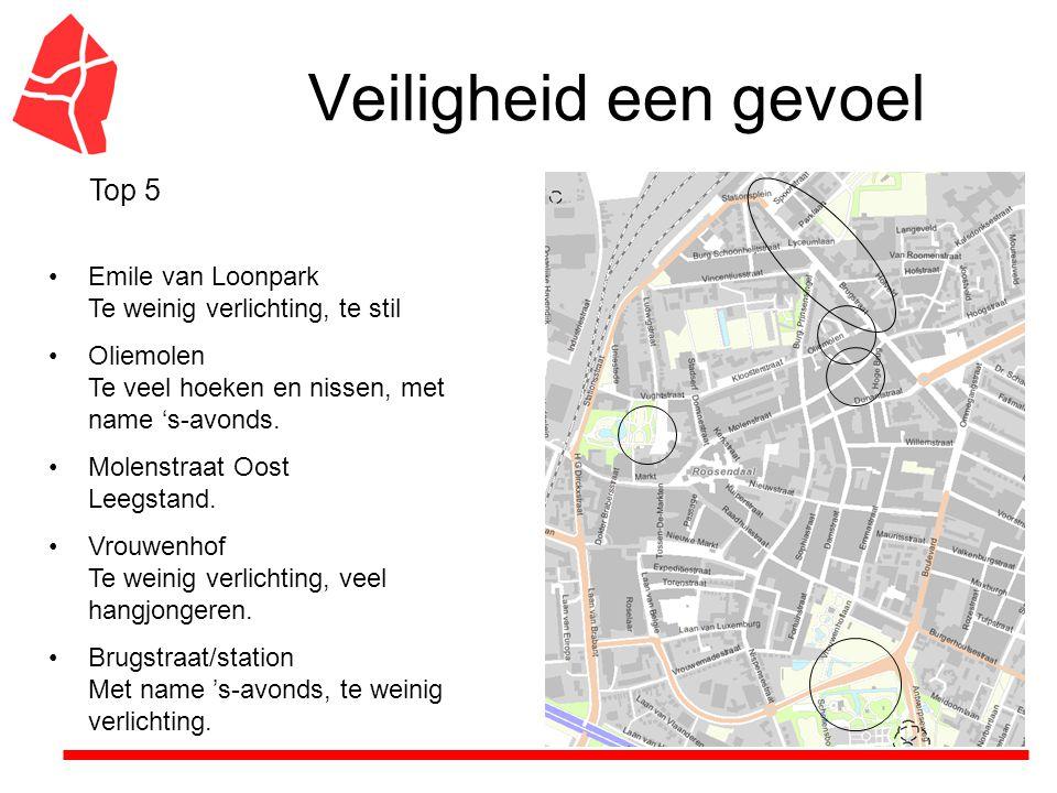 Veiligheid een gevoel Emile van Loonpark Te weinig verlichting, te stil Oliemolen Te veel hoeken en nissen, met name 's-avonds.