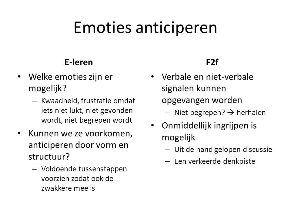 Emoties anticiperen E-leren Welke emoties zijn er mogelijk.