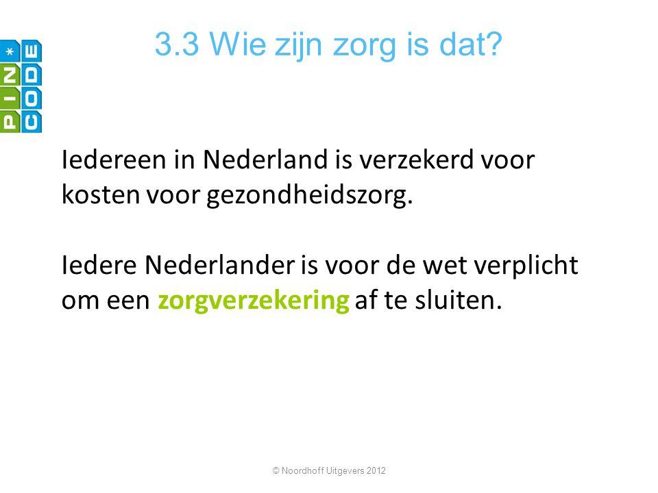 3.3 Wie zijn zorg is dat? Iedereen in Nederland is verzekerd voor kosten voor gezondheidszorg. Iedere Nederlander is voor de wet verplicht om een zorg