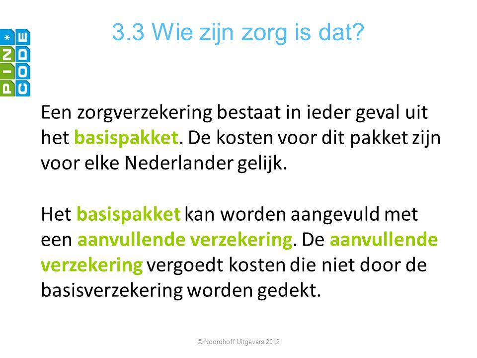 3.3 Wie zijn zorg is dat? Een zorgverzekering bestaat in ieder geval uit het basispakket. De kosten voor dit pakket zijn voor elke Nederlander gelijk.