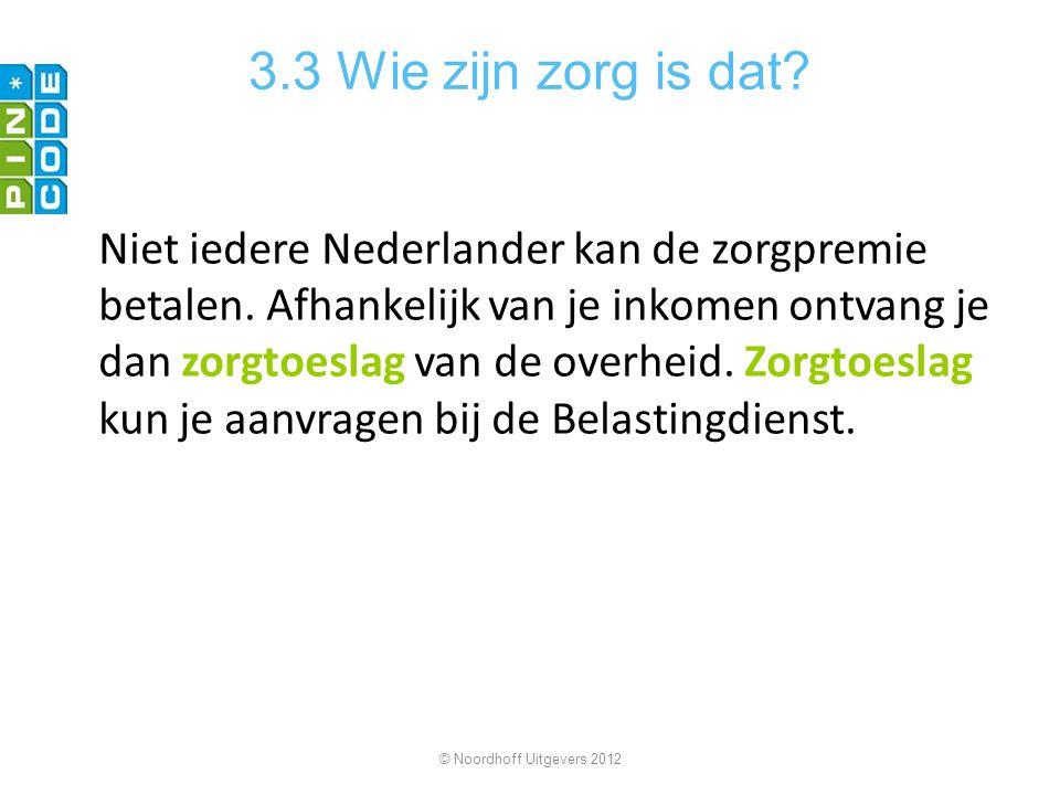 3.3 Wie zijn zorg is dat? Niet iedere Nederlander kan de zorgpremie betalen. Afhankelijk van je inkomen ontvang je dan zorgtoeslag van de overheid. Zo